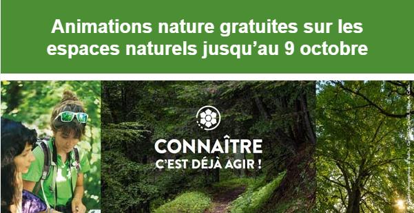 Animations nature gratuites sur les espaces naturels jusqu'au 9 octobre